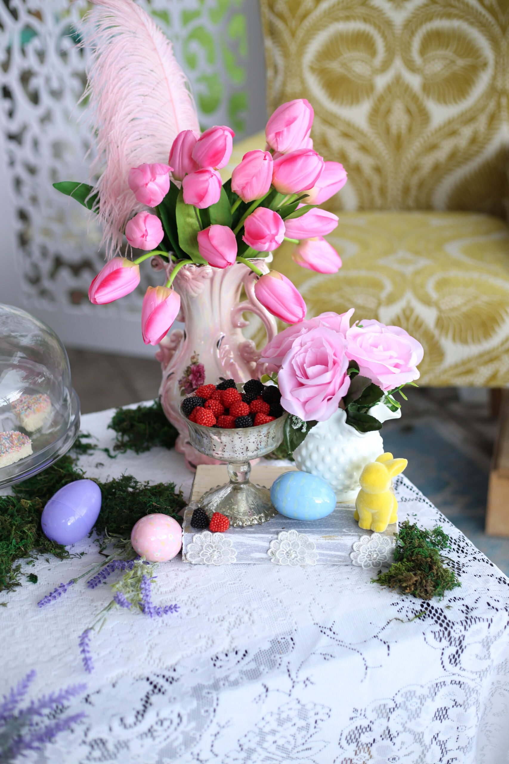 spring tulips in a pink vase