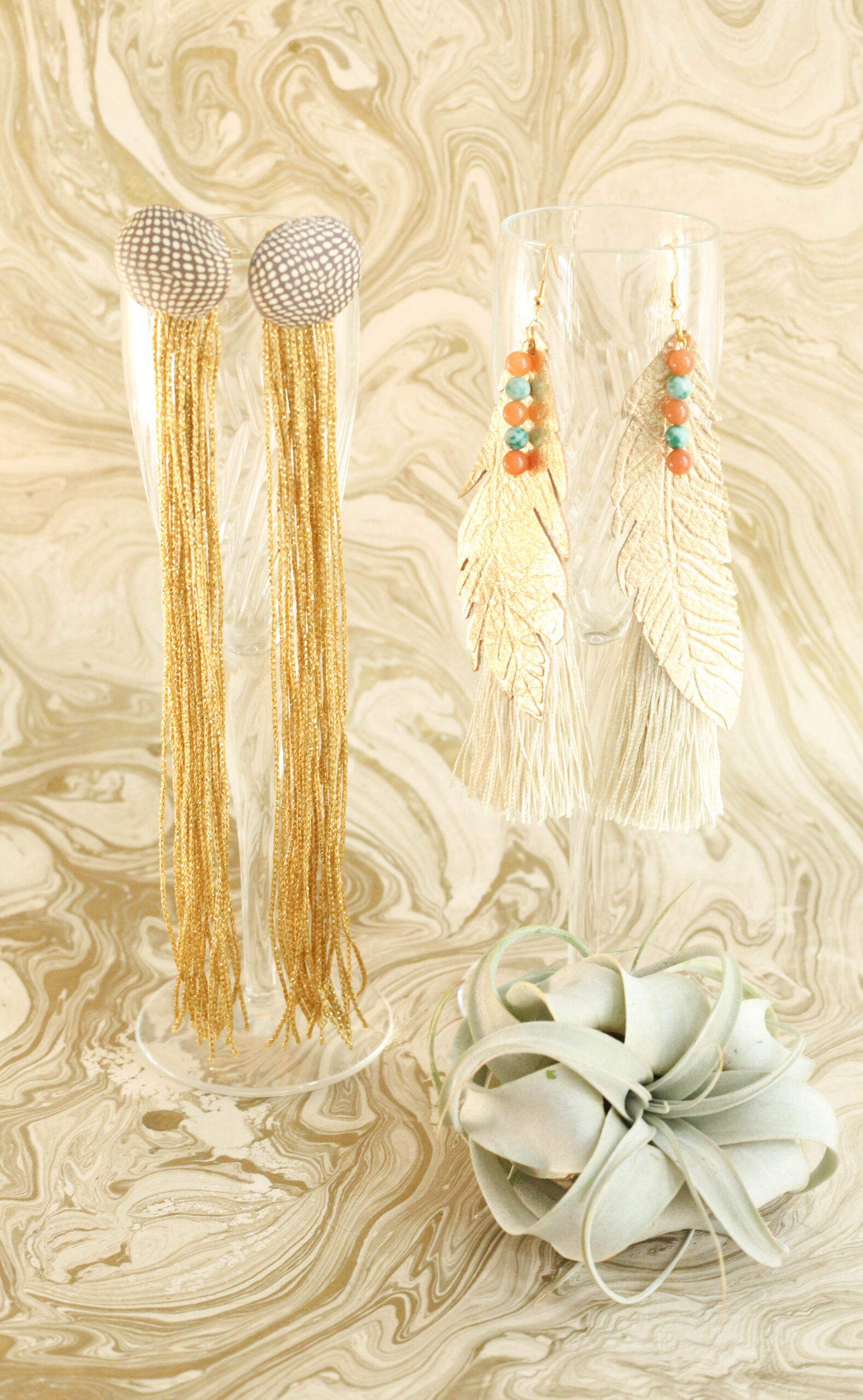 Boho glam statement earrings made by hand