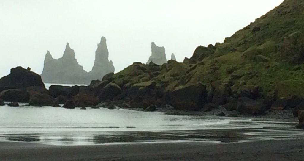 Sea stacks and a black beach at Vik