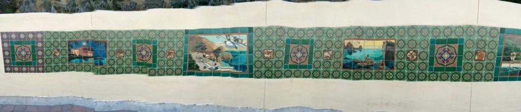 Mural tiles along walk-way to casino