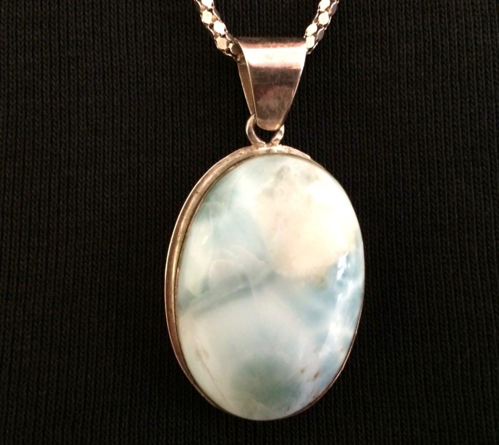 Light milky-blue pendant