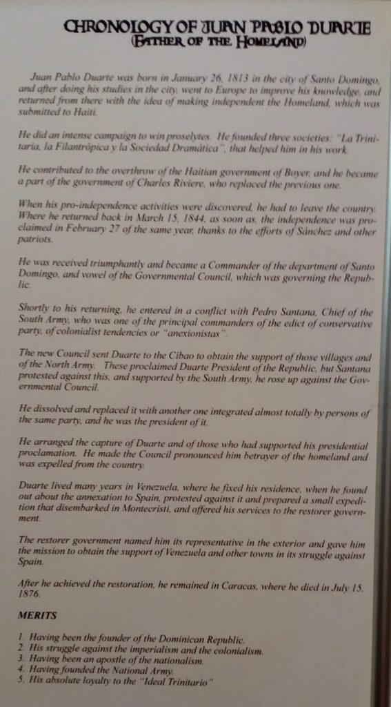 Chronology of Juan Pablo Duarte