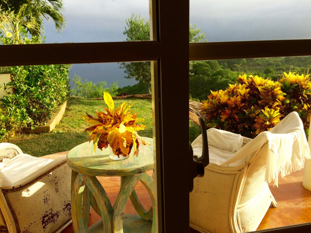 Viewing the mists on Samana Bay from inside