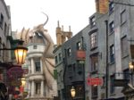 Fire-spewing dragon above Gringotts Bank