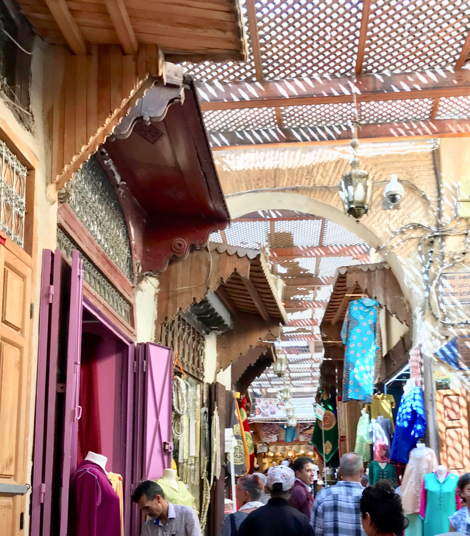 Busy lanes in Fes medina