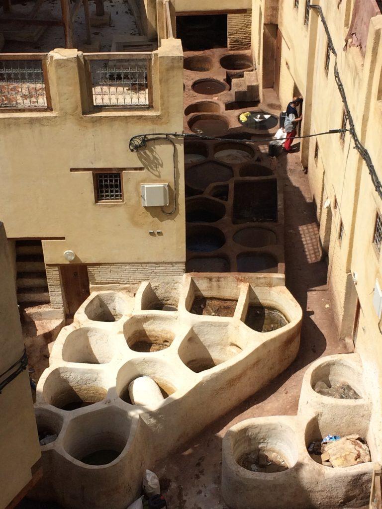 Dye vats in Fez tannery