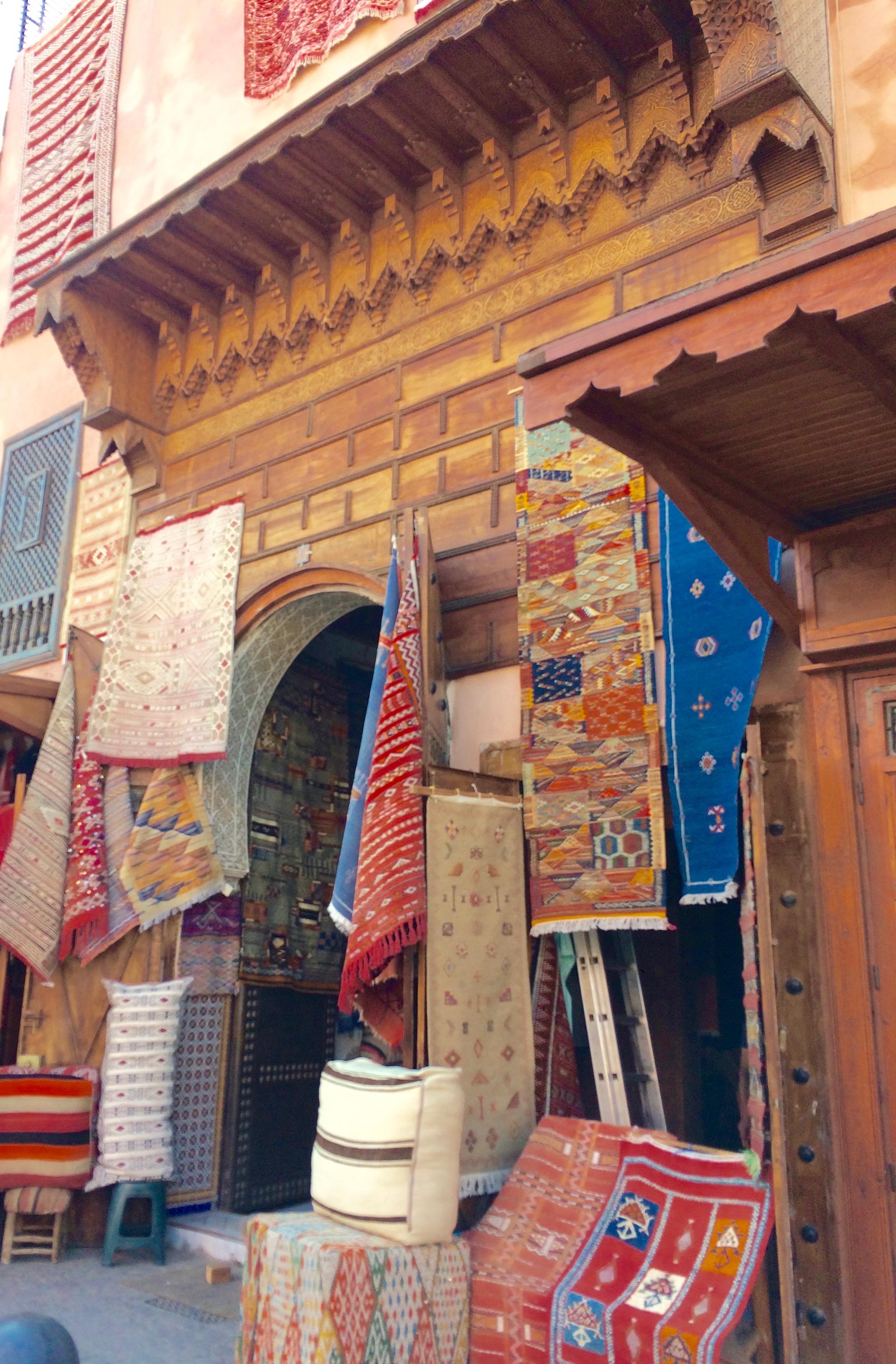 Rugs outside Marrakesh souk