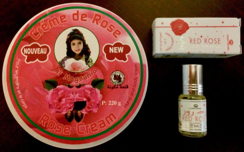 Rose hand cream and perfume