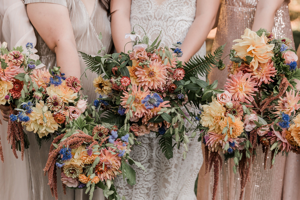 Bridal bouquets with dahlias