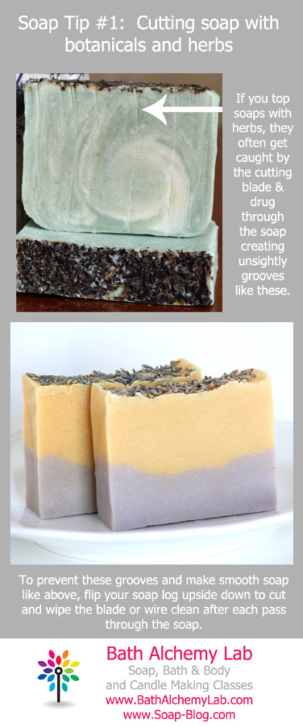 Soapmaking Tip 1 - Cutting Soap Topped with Botanicals or Herbs