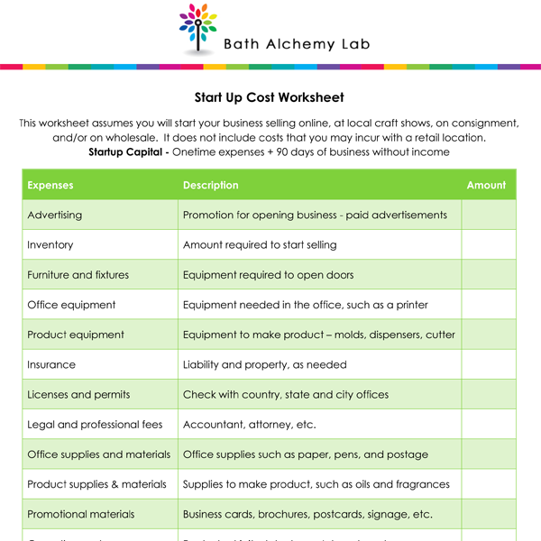 FREE Startup Costs Worksheet for New Businesses
