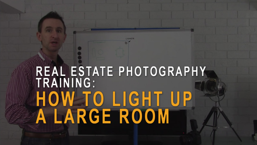 Real estate photography - how to light up a large room