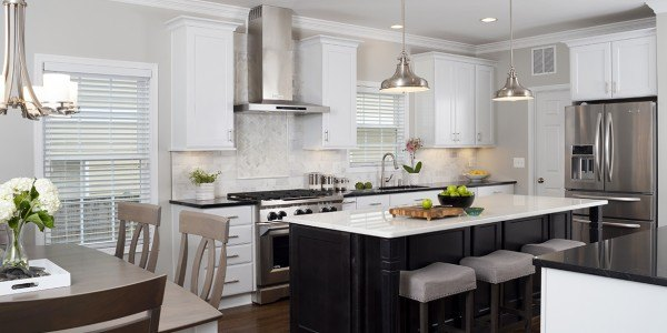 Kitchen remodeling in Northern VA, DC, MD, white cabinets, island, quartzite counters, stainless steel appliances