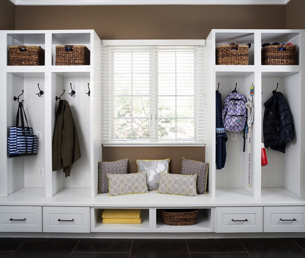 Mudroom remodeling in Oakton, VA and Northern Virginia; built-in shelving