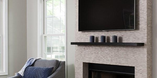 living room remodeling in Northern VA, MD, DC; fireplace, mounted TV, hardwood floors