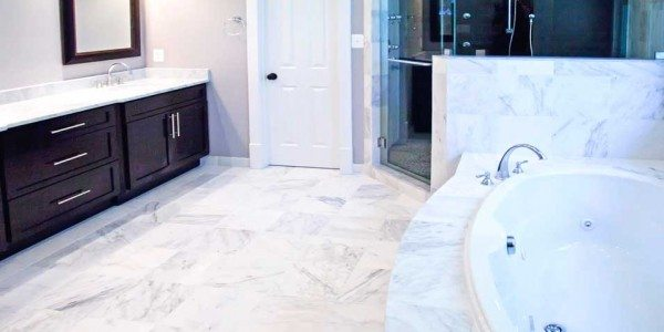 Bathroom remodel in Northern VA, MD, DC; marble countertop, marble tub, marble floor, oversized shower, dark cabinets