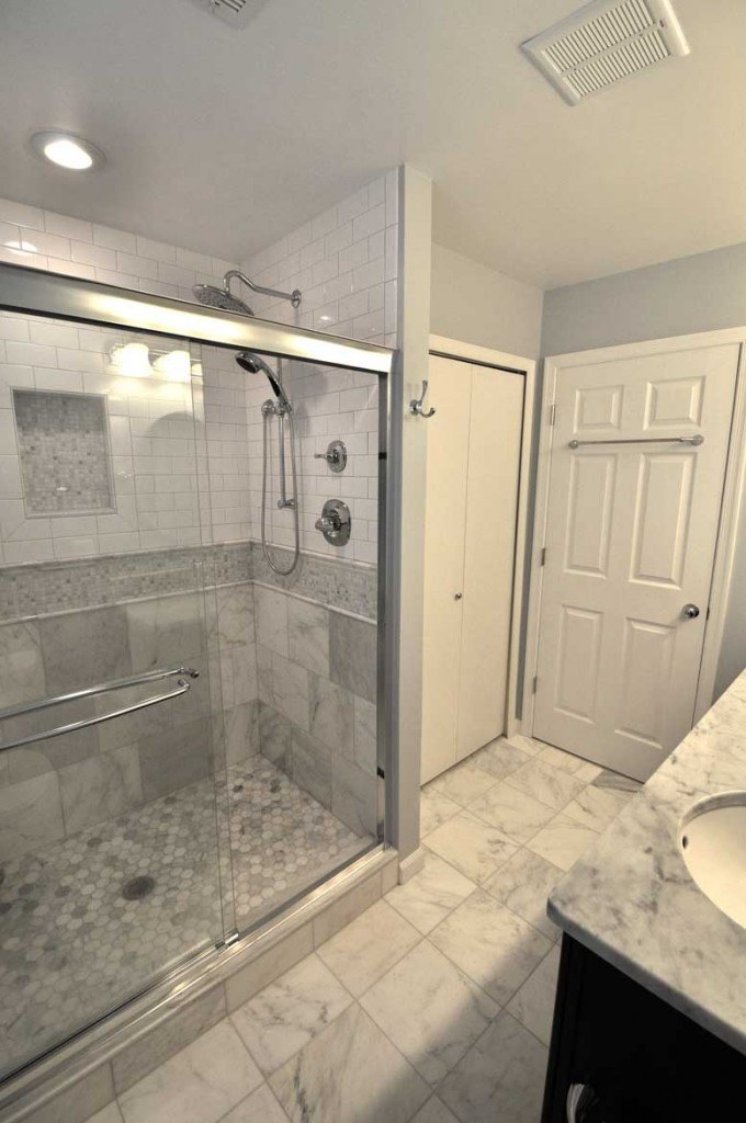 Master bathroom remodel in Northern VA, MD, DC; marble counters & flooring; tile shower