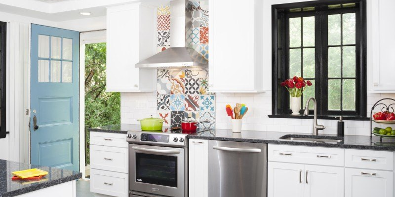 Kitchen remodel in Northern VA, MD, DC; white cabinets; stainless steel appliances; colorful tile; eclectic style