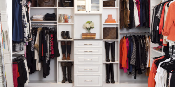 Luxury walk-in closet remodel in Northern VA, MD, DC; built-in shelves