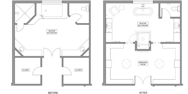 Plans for master bathroom and master closet remodel in Northern VA, MD, Dc