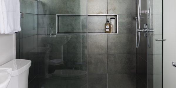 Modern bathroom remodel in Northern VA, MD, DC; tile floor and tile shower