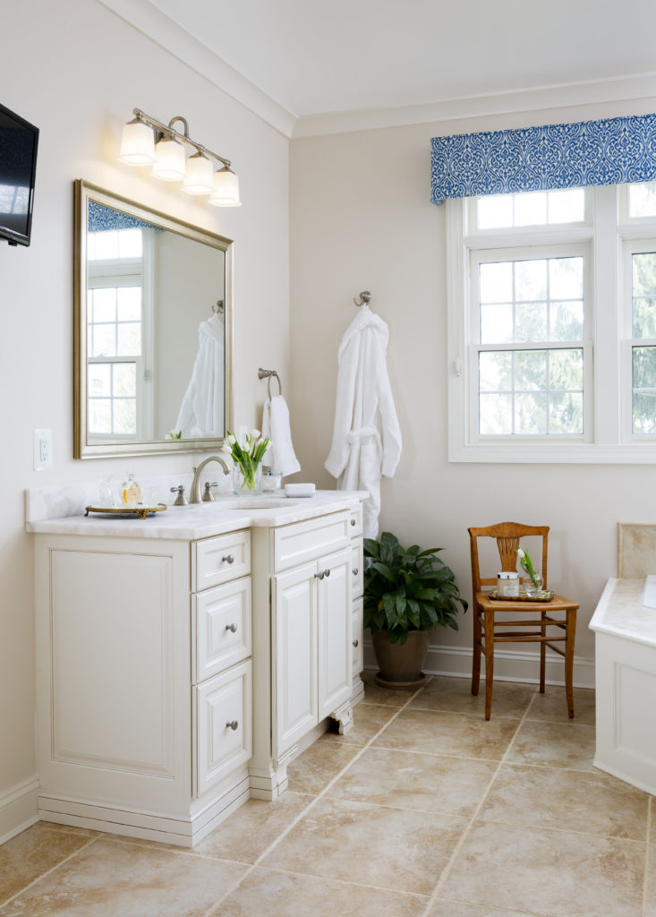 Classic bathroom remodel in Northern VA, MD, DC; white cabinets; tile floor