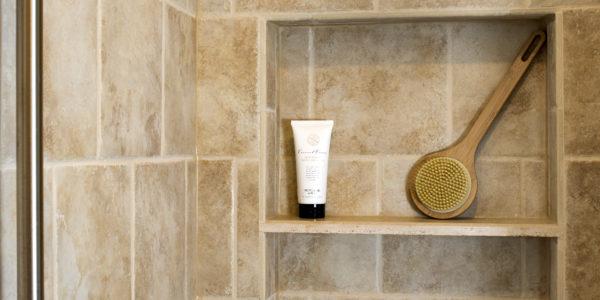Classic bathroom remodel in Northern VA, MD, DC; white cabinets; tile floor; tile shower