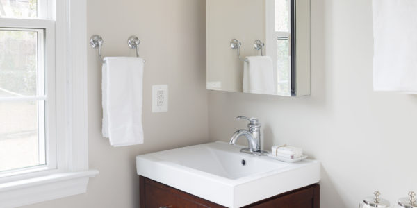 Bathroom remodel in Northern VA, MD, DC; wood cabinets