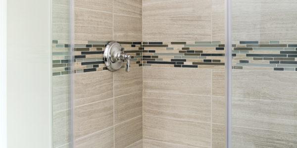Bathroom remodel in Northern VA, MD, DC; wood cabinets; tile shower