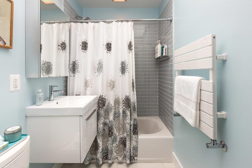 Bathroom remodel in Northern VA, MD, DC; floating vanity; gray tile shower