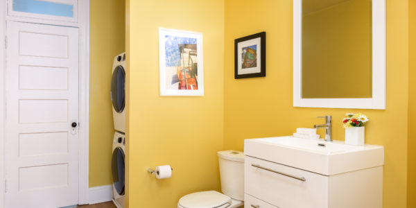 Bathroom and laundry room remodel in Northern VA, MD, DC; floating vanity
