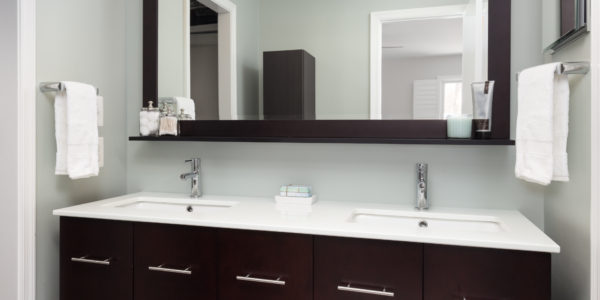 Bathroom remodel in Northern Virginia, MD, DC; dark wood cabinets; floating vanity
