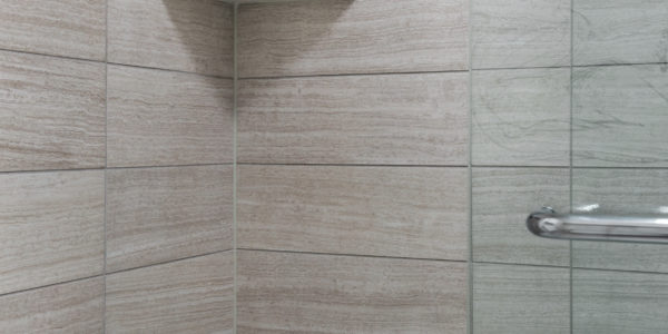 Bathroom remodel in Northern Virginia, MD, DC; tile shower; sliding shower door