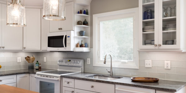 Kitchen remodel in Northern VA, MD, DC; eat-in kitchen; white cabinets; subway tile; island