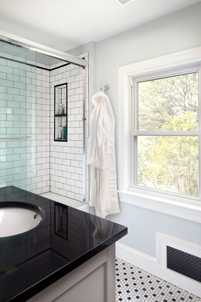Vintage Inspired Bathroom Renovation Herndon Virginia hexagon tiles, white subway tiles, nostalgic touches