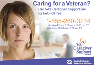 Call the VA's Caregiver Support Line for toll-free help.