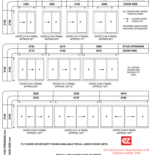 sliding door size chart