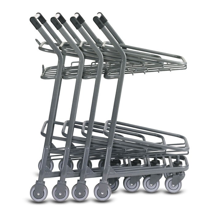 EZcart two-tier metal wire shopping basket cart in metallic grey