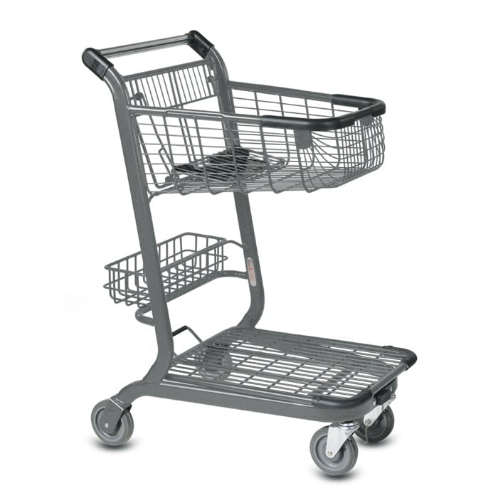 EXpress3500 two-tier metal wire shopping cart with child seat, back basket and lower tray in metallic grey