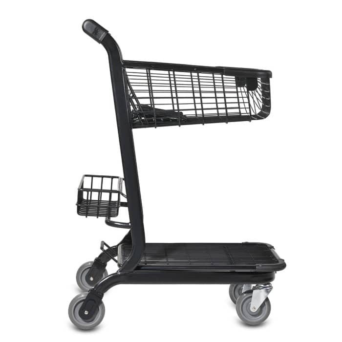 EXpress3500 two-tier metal wire shopping cart with child seat, back basket and lower tray in black