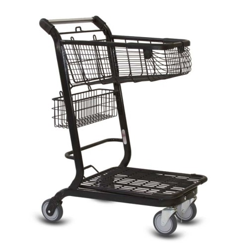 EXpress3500 two-tier metal wire shopping cart with back basket and lower tray in black