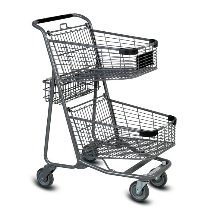 EXpress5050 two-tier metal wire shopping cart in metallic grey