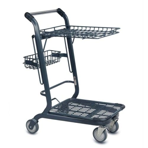 EXpress3556 two-tier metal wire shopping cart with back basket and retractable top tray