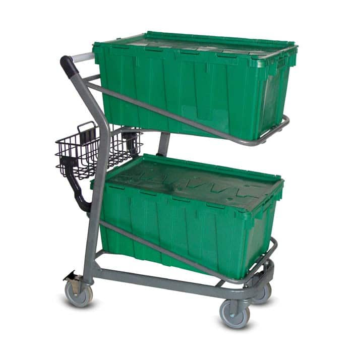 EZtote450 tote stocking material handling cart in metallic grey