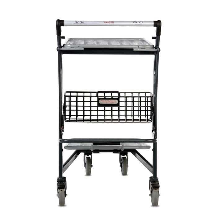 EZtote580-55 retractable tote stocking material handling cart in dark grey