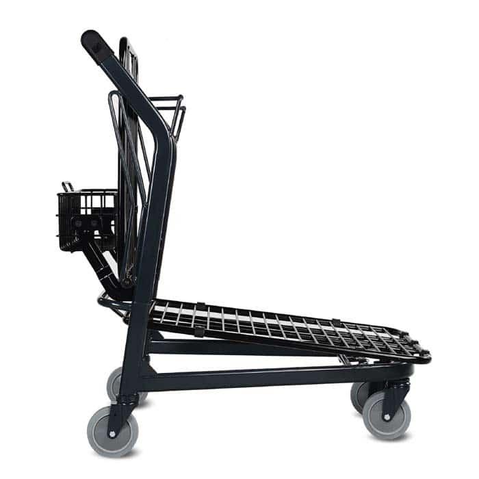 EZtote580 retractable tote stocking material handling cart in dark grey