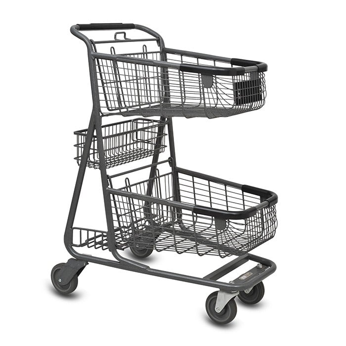 EXpress6150 two-tier metal wire grocery shopping cart with back basket and lower tray in metallic grey