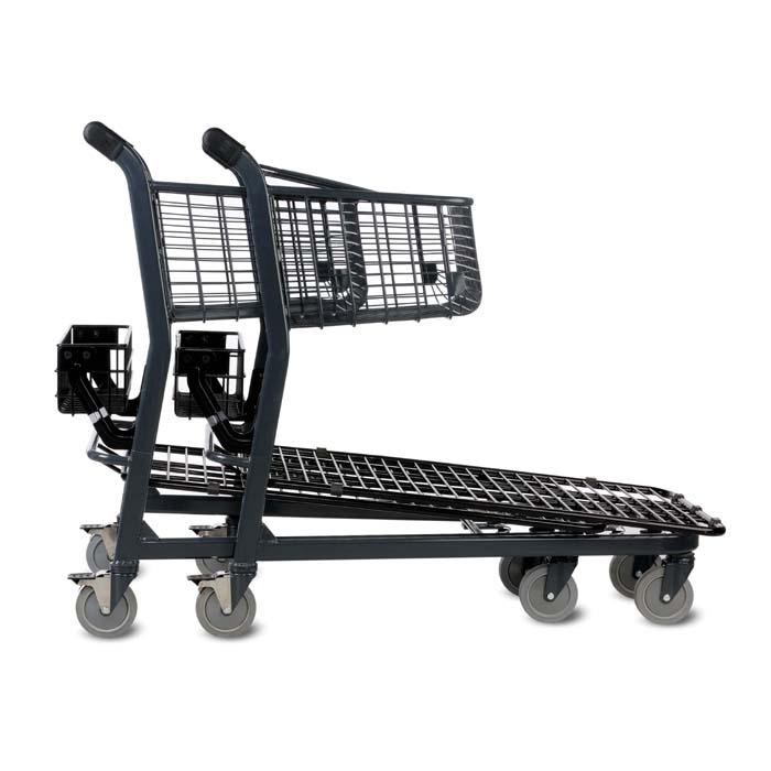 EZtote646 metal wire material handling shopping cart with back basket in dark grey