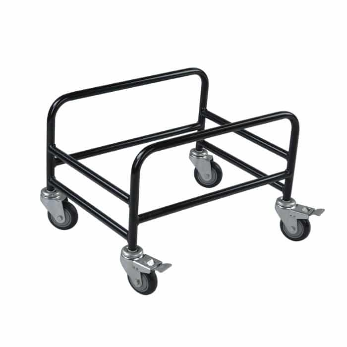 Rolling rack with brakes for 28-30 liter hand baskets