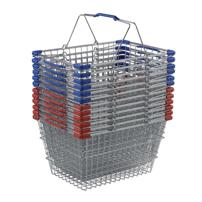 30 liter wire hand basket with plastic bumpers